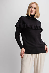 Turtleneck Ruffle Pullover