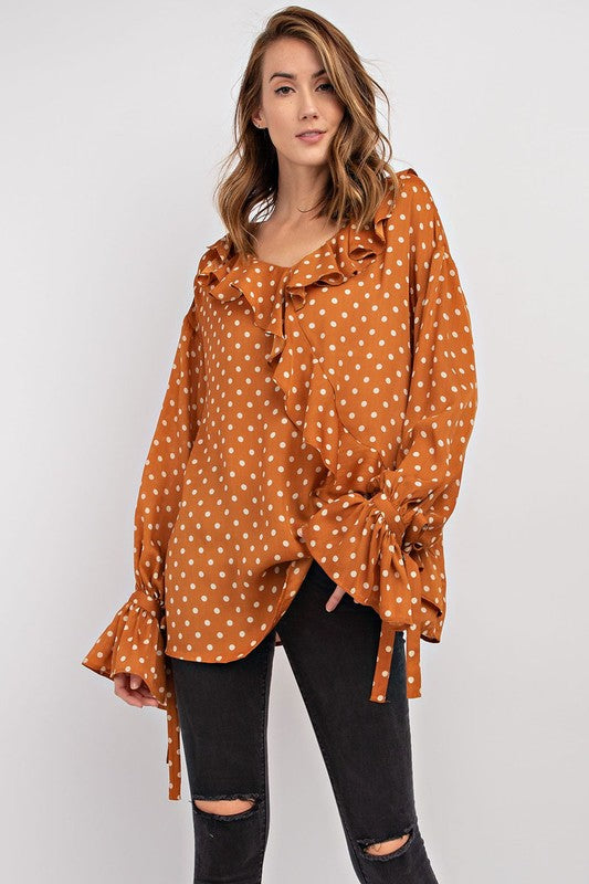 Polka Dot Ruffled Blouse