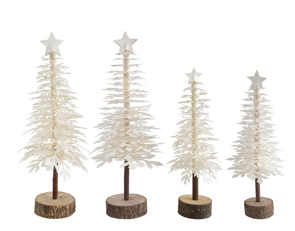 Paper Tree w/ Star on Wood Base