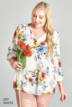 Curvy Girl Floral V Neck Tunic Top