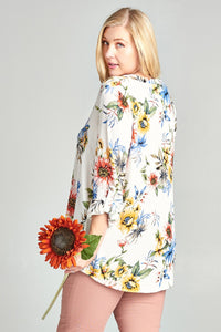 Floral V Neck Tunic Top