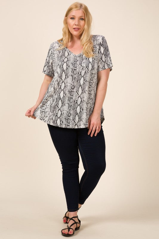 Curvy Girl Snake Print Top