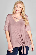 Curvy Girl Short Sleeve Top with a Crisscross V-Neckline
