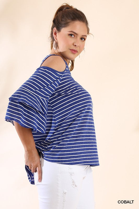 47a55c90e447a0 Curvy Girl Striped Open Shoulder Top – Greige Goods