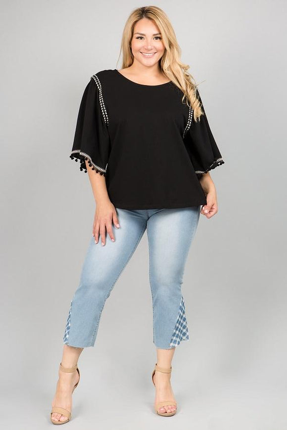 Curvy Girl Top with Pom Pom Accents