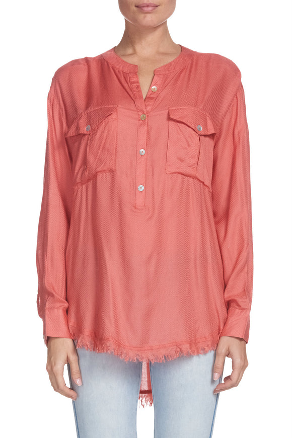 Button Down Top with Fringe