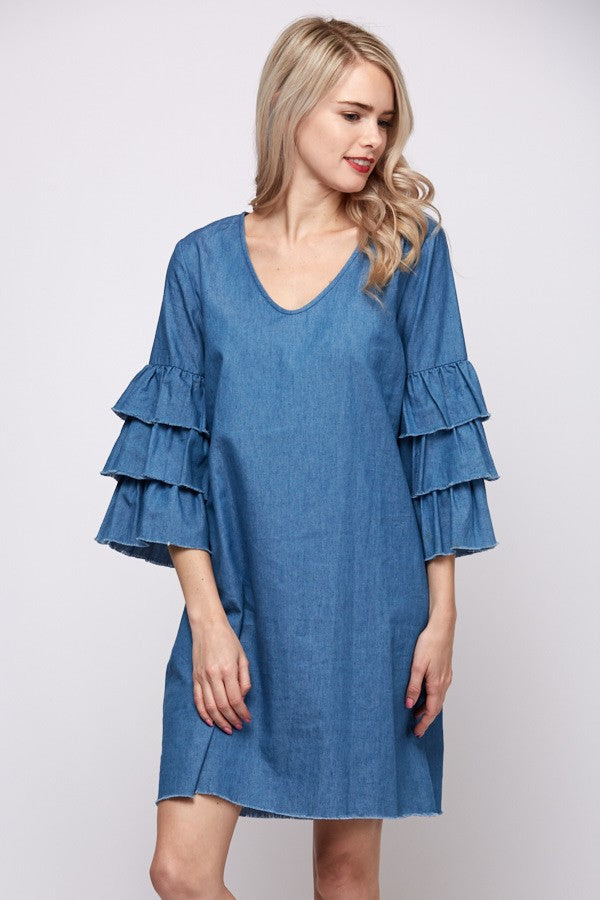 Denim Chambray Dress with Ruffled Sleeves