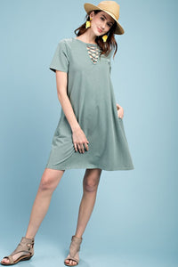 Tee Dress with Lace-up Front