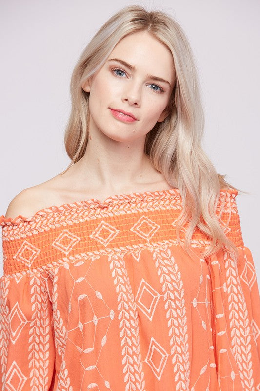 Embroidery Smocking Off the Shoulder Top