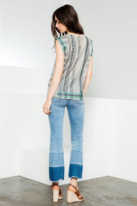 Embroidered Cap Sleeve Top