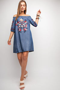Embroidery Detail Denim Dress
