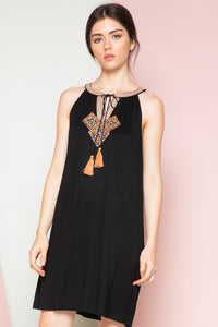 Halter Dress with Center Embroidery