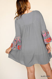Curvy Girl Floral Embroidered Babydoll Dress