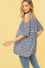 Gingham Tie Sash Cold Shoulder Tunic Top