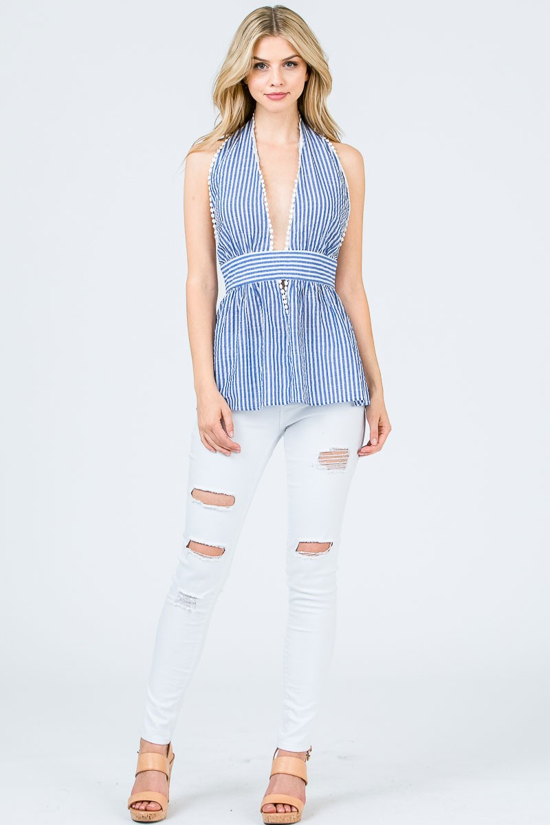 Striped Open Back Halter Neck Top with Lace Trim