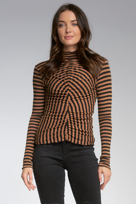 Long Sleeve Stripe Ruched Top