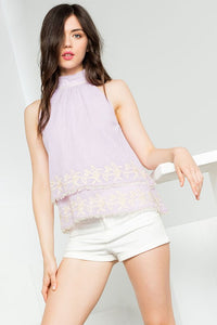 Halter Stripe Top with Embroidery