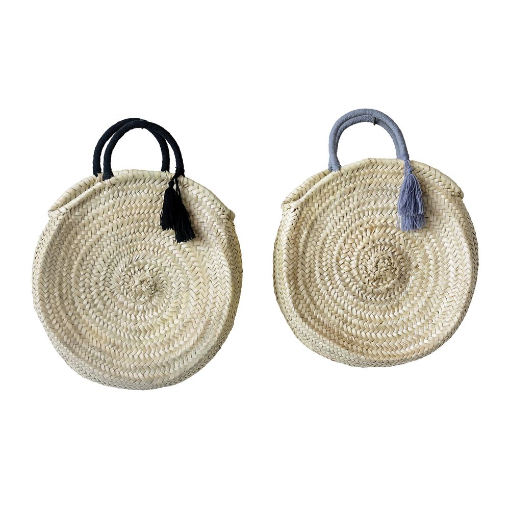 Hand-Woven Circa Bag w/ Cotton Liner & Fabric Handle w/ Tassel, 2 Colors