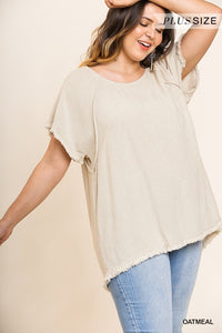 Curvy Girl Round Neck Linen Top