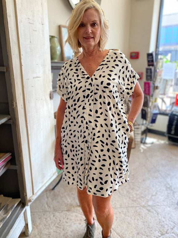 Curvy Girl Dalmatian Print Dress