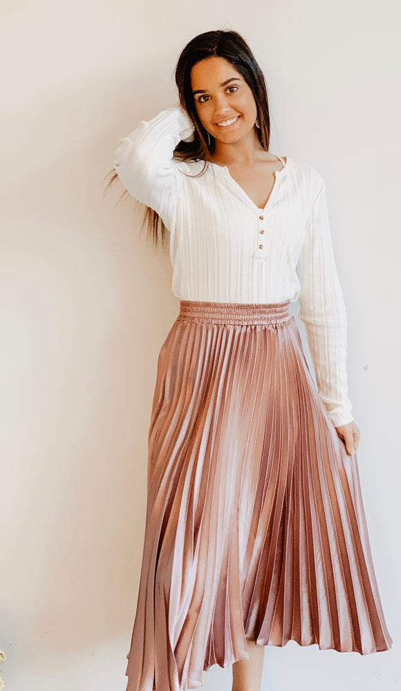 Solid Pleated Satin Maxi Skirt