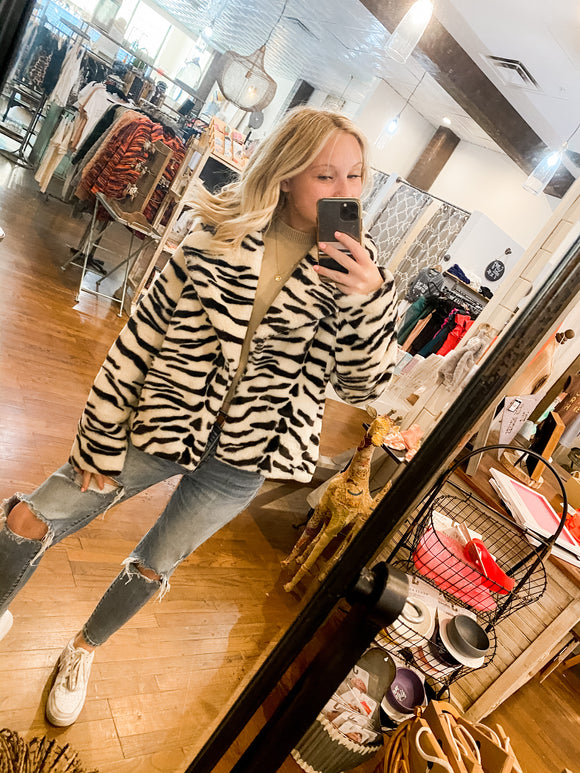 Zebra Fur Coat Jacket