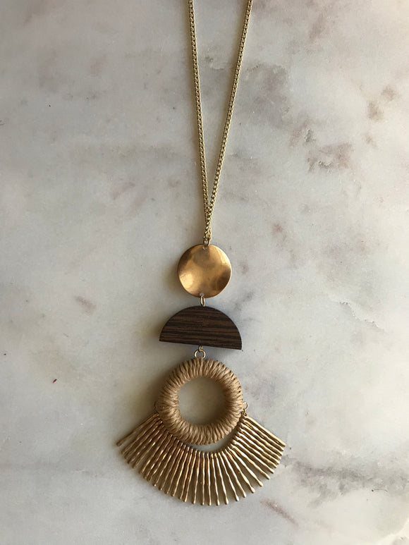 Tweed, Wood and Gold Geometric Necklace
