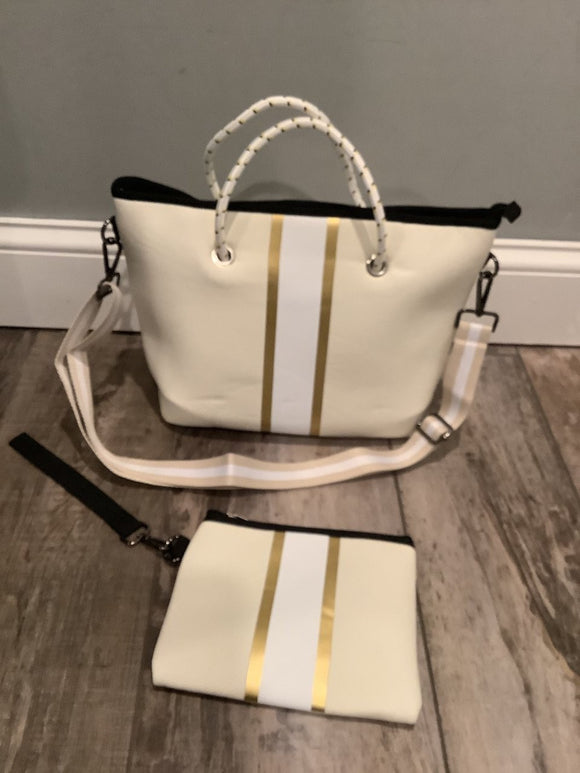 Ivory and Gold Tote Bag