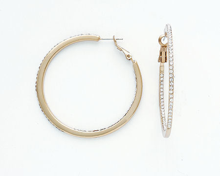 Skinny Large Gold & CZ Hoops
