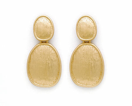 Double Matte Gold Oval Earrings