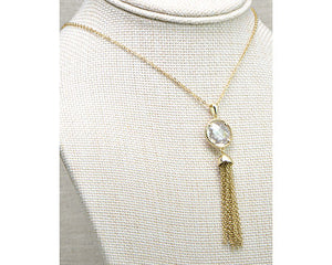 "30"" Gold Cable Wrapped CZ Necklace"