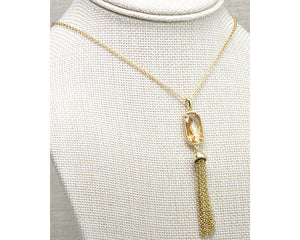 "30"" Gold Rectangle Necklace with Colored Stone Enhancer and Tassel"