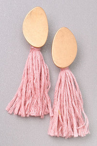 Gold and Thread Tassel Earrings