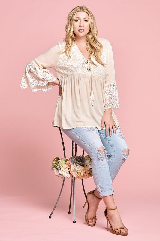 Curvy Girl V Neck Lace Up Top