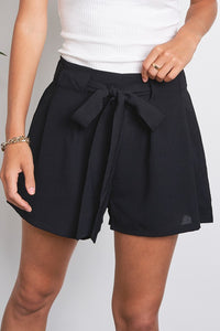 High-Rise Paper-Bag Woven Sash Tie Shorts