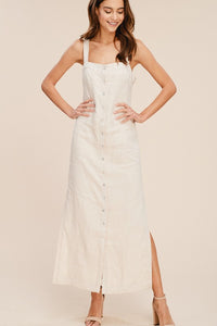Linen Button Down Apron Maxi Dress