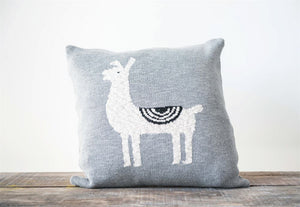 "18"" Square Knit Pillow w/ Llama"