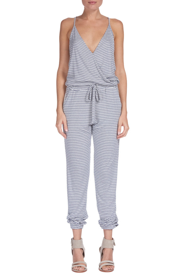 V Neck Stripped Jumpsuit