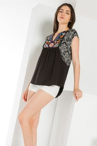 Mixed Media Embroidered Knit Top