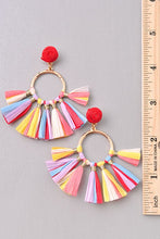 Multi-Colored Raffia Tassel Earrings