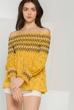 Printed Smocked Off Shoulder Top