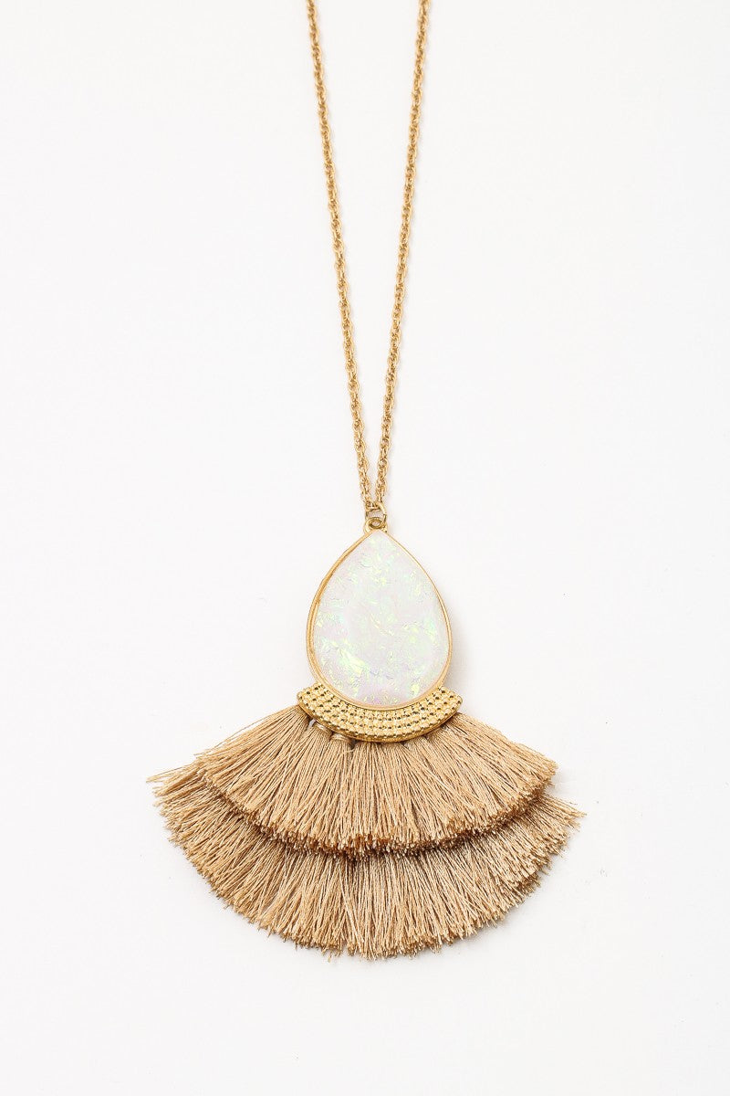 Long Opal Gemstone Fringed Necklace