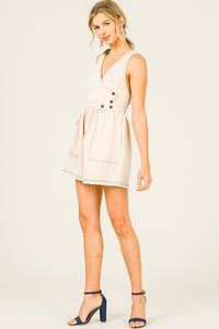 Open Back Romper with Button Trim