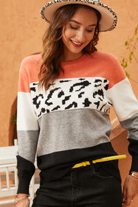 Lily Orange and Animal Print Sweater