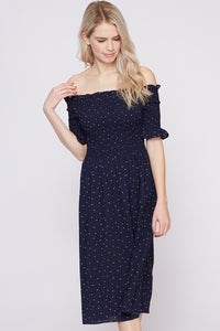 Polka Dot Print Smocking Off the Shoulder Dress
