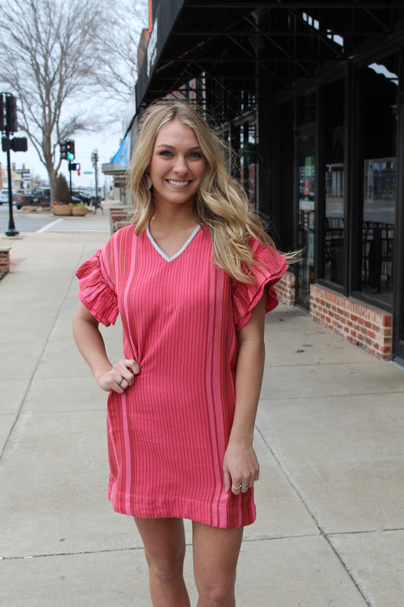 Drop Shoulder Ruffle Dress