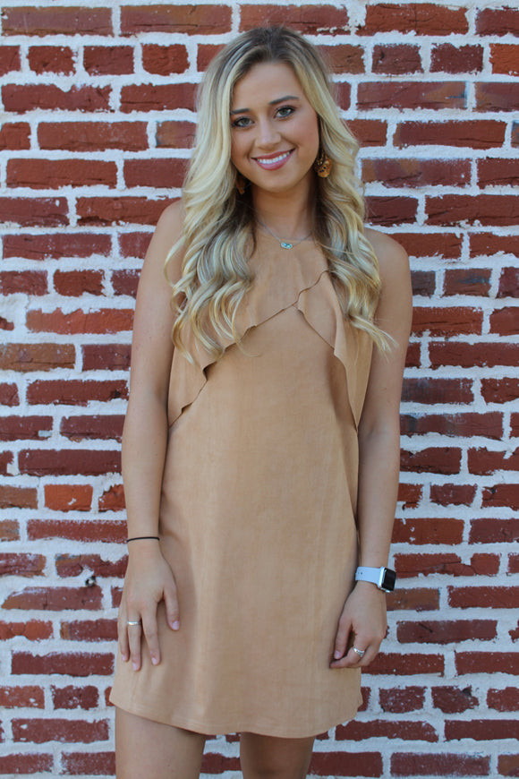 Shelby Vegan Suede Ruffle Dress