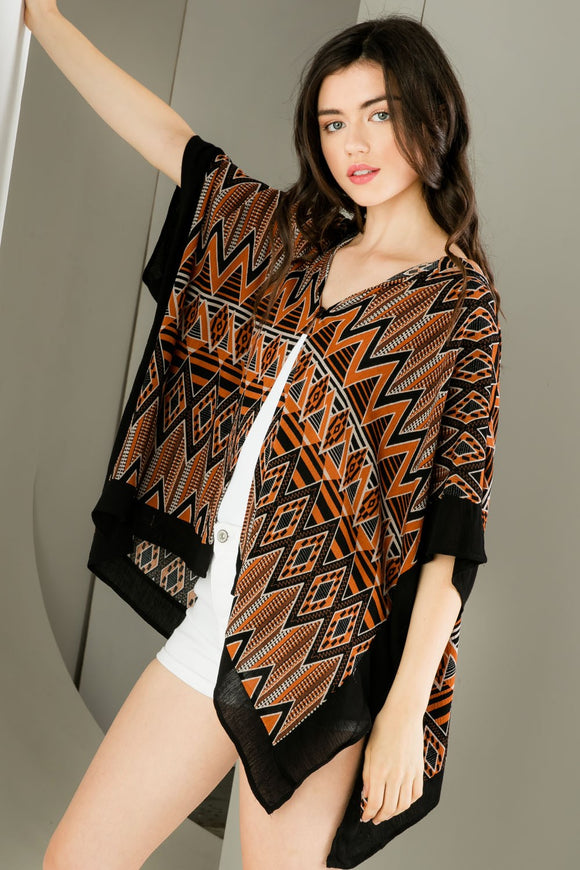 Print Hooded Poncho
