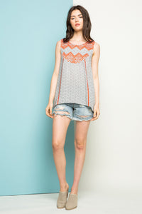 Printed Sleeveless Top with Embroidery