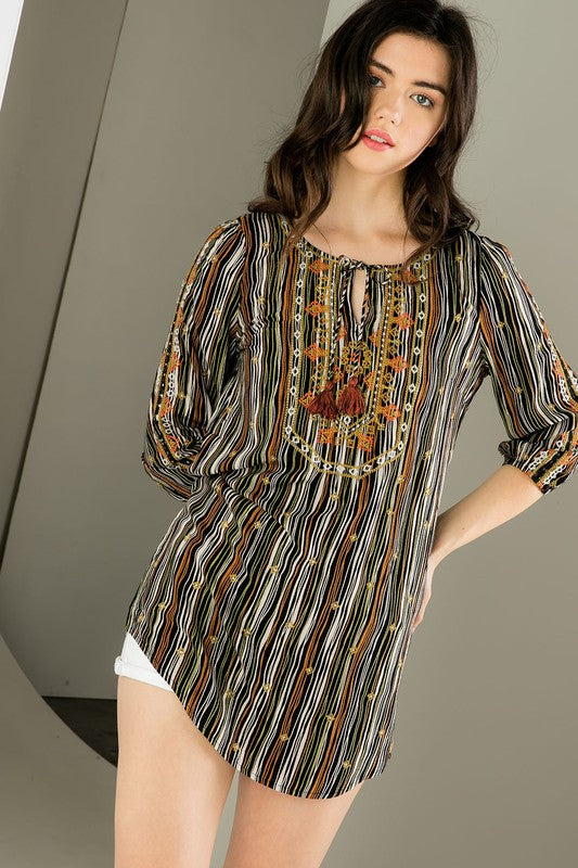 Printed Tunic with Neck Tie